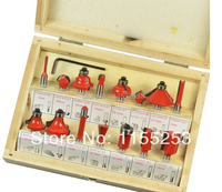 15PCS 1 4 Professional Shank Tungsten Carbide Router Bit Set With Wood Case Box Wood Working