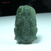 Myanmar Emerald lucky Guangong Jade Pendant Certified Natural A Grade Burmese Jadeite Green High Quality Hand Carved Family Gift