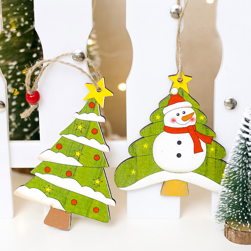 1 Pc Christmas Snowman Hanging Craft Diy Decoration Wooden Santa Claus Xmas Ornament Party New Year Supply Gift