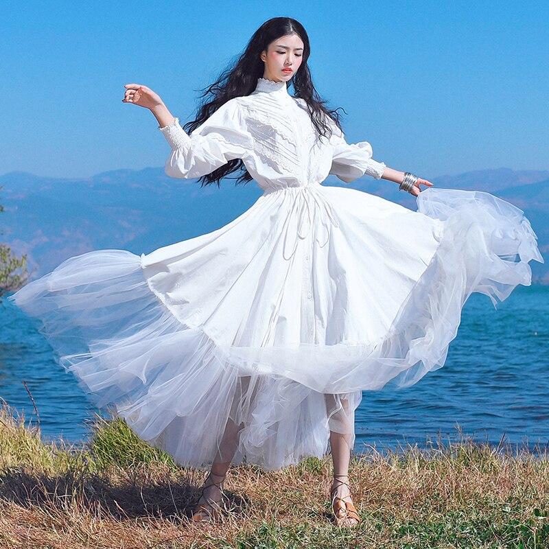 Бесплатная доставка 2018 модные женские туфли из хлопка длиной макси длинное Фонари рукавом Платья для женщин Весна и осень boshow белый Бандажн