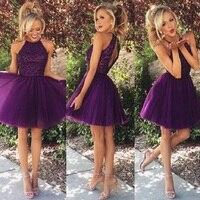 Пикантные 2019 фиолетовый линия платье для выпускного, на бретельках Бисер Короткие с открытыми плечами открытой спиной Мини выпускное Вечер
