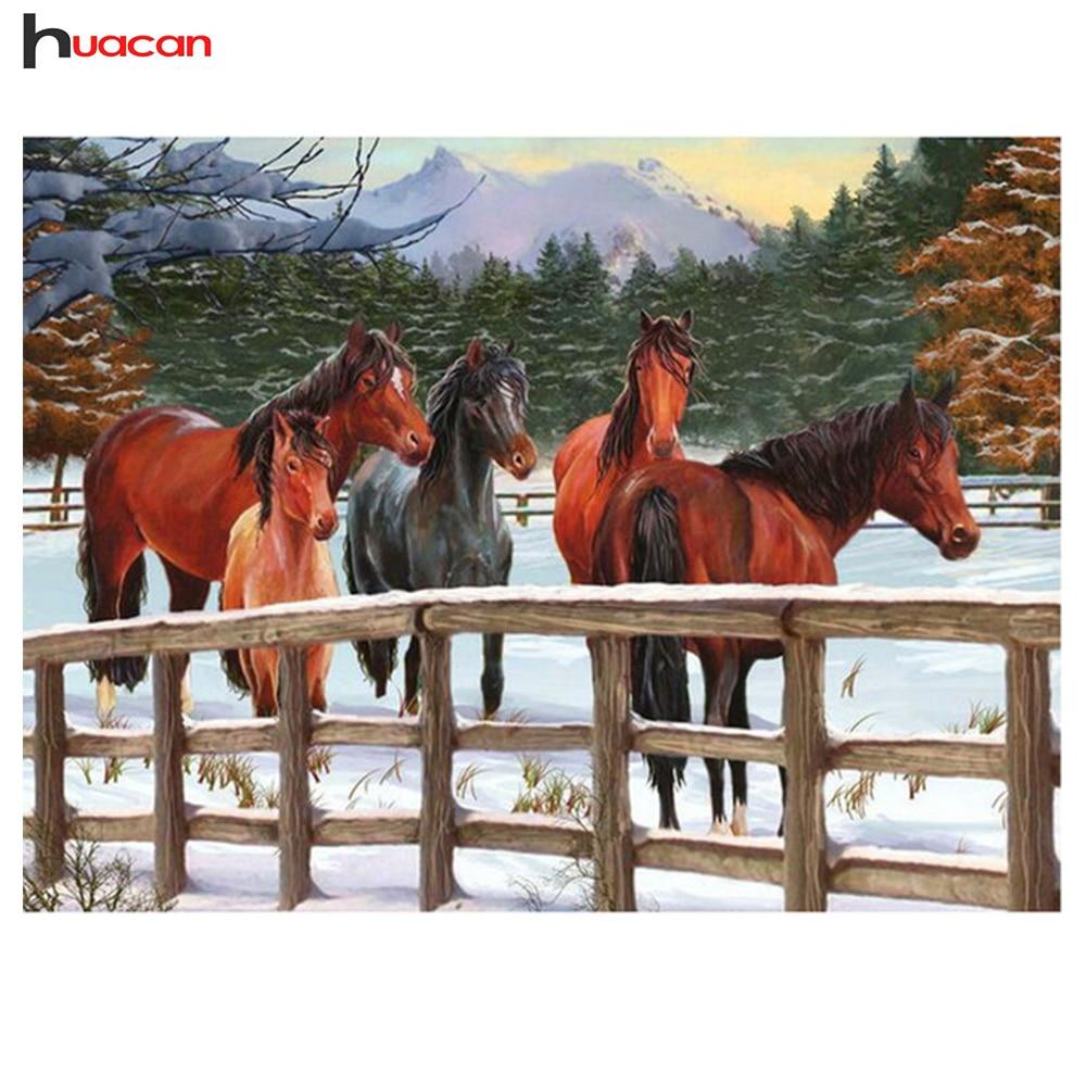 Huacan Diamond Embroidery Full Square Drill Winter Horses Pattern Rhinestones Diamond Painting Needlework Hobby Crafts Full Kit