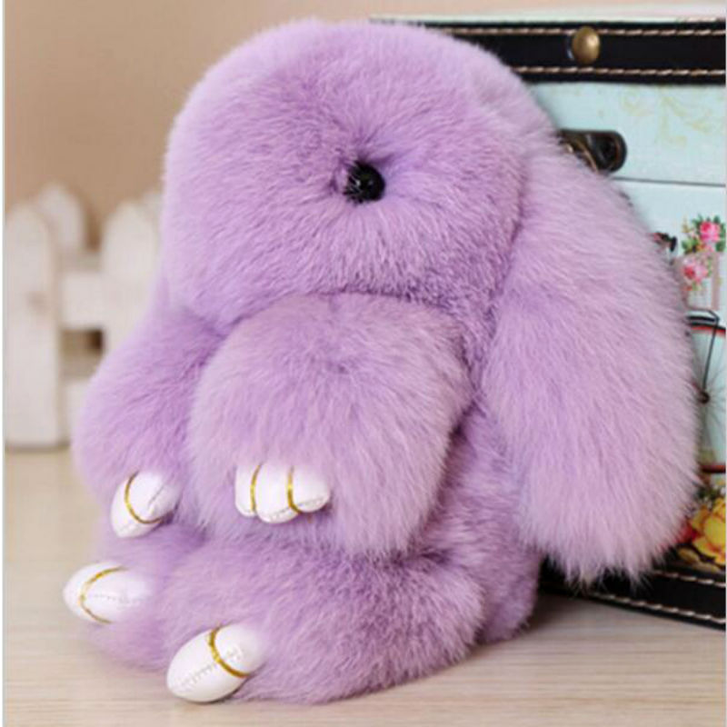 18CM Bunny Keychain Genuine Rabbit Fur Pom Pom Key Chain for Women Trinket Charm Bag Car Keyring Monster Key Ring Holder
