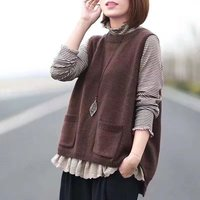 Japanese Mori Girl Casual Crochet Embroidery Harajuku Boho Loose Solid Knitted Sweater Cotton Poolovers Women Autumn Spring Vest