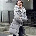 Inverno novo acolchoado pena Meninas versão Coreana do longa seção de grosso dos grandes estaleiros MM gordura era magro jaqueta casaco Estudantes