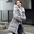 winter new feather padded Girls long section of thicker Korean version of the big yards fat MM was thin coat jacket Students