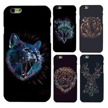 Популярные ретро лев дизайн обложки для Черный Жесткий Shell Для Apple iphone 4 4S 5 5S SE 5c 6 6 S 6 ПЛЮС 7 7 ПЛЮС