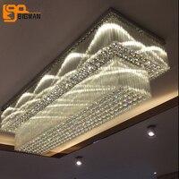 Новый дизайн 2 слоя хрустальная люстра современные потолочные светильники replaceble светодио дный лампы люстры cristal лобби длинная люстра