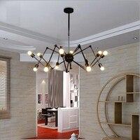 Vintage Edison Industrial Loft Drop Light Lamp Metal Large Chandelier Adjustable Arms Hanging Spider Pendant Black