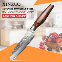 XINZUO 5inch santoku knife China Damascus steel kitchen knife 73 layers japanese VG10 chef knife Color wood handle free shipping
