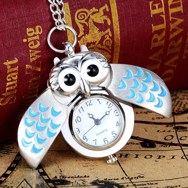 Fashion Silver Green Unisex Vintage Slide Smart Owl Pendant Antique Necklace Pocket Watch Gift High Quality Gift reloj mujer Hot vintage antique stainless steel quartz pocket watch key shaped pendant watch key chain unisex gift new popular style hot selling