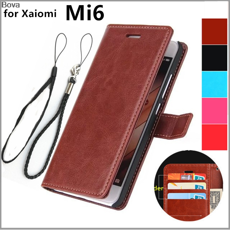 Retro kulit Balik Kasus untuk Xiaomi Mi6 M6 Mi 6 Pelindung Penutup slot Kartu Magnetic Buckle Holster Penutup Kasus