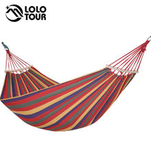 2 People Outdoor Camping Hammock Wood Stick Hamak Garden Hanging Chair Hangmat Thickening Widened Double Furniture(China)