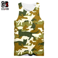 OGKB 3D  Hombre Vest Fashion Fitness Printing Camouflage cat Casual Large Size Clothes Unisex Summer Tank Tops