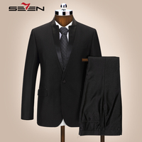 Seven7 Brand Men Dress Suits Chinese Mandarin Collar 2 Pieces Jacket An Pant 1 Button Front
