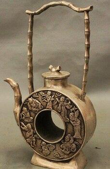 decoration Tibet copper silver     8 China Classic Silver 8 Immortal God Bamboo Handle Wine Tea Pot Flagon Statue