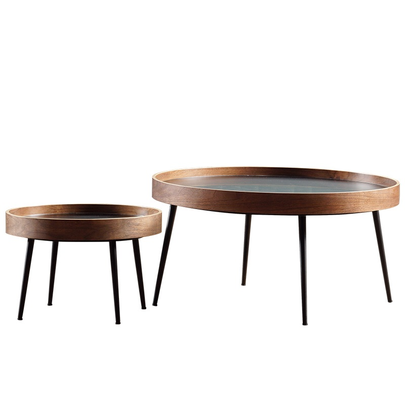 76cm+50cm Round Plywood Edge Coffee Table / Black Or Golden Legs / 2pcs Pack Of Big And Small