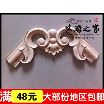 Dongyang woodcarving Style Floral applique patch wood carved column wiring cabinet wood lintel FLOWER