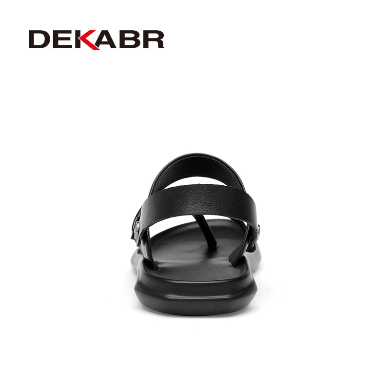 Image 3 - DEKABR Classic Men Sandals Comfortable Men Summer Casual Shoes Split Leather Big Size Soft Flip flop Men Breathable SlippersMens Sandals   -