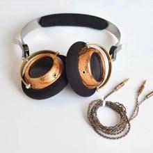 OKCSC 57MM altavoz abierto voz HIfi Oliva madera auriculares con 5N OCC plateado plata DIY 3,5mm Cable de repuesto Estilo Vintage