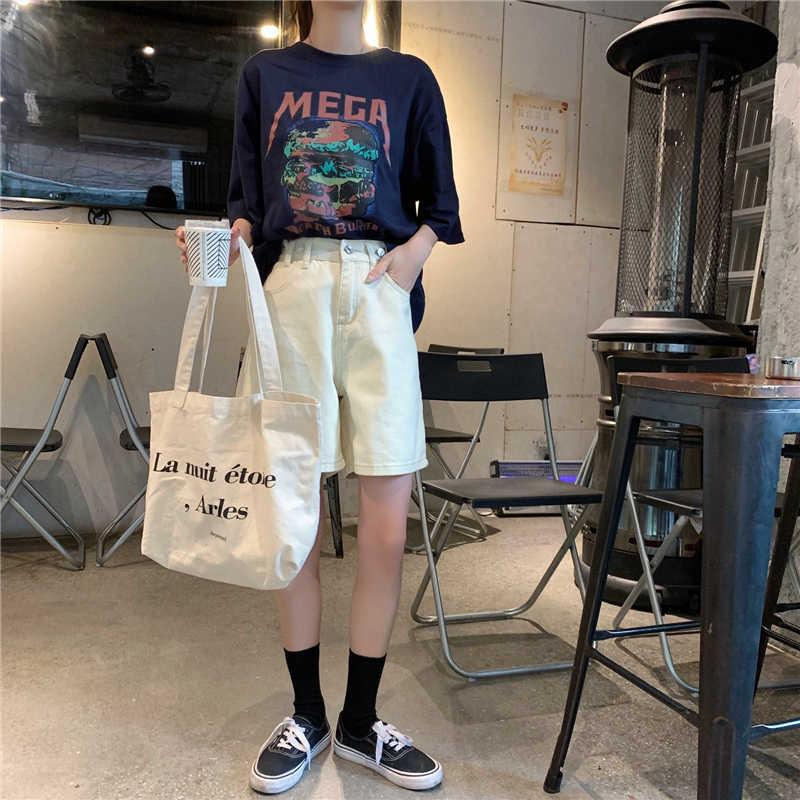 2019 lato kolano długość kobiety dżinsy szorty Harajuku szerokie nogawki wysokiej talii białe jeansowe spodenki vintage kieszenie krótkie Femme