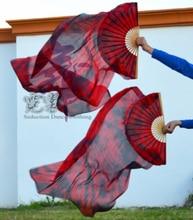 2016 di alta vendita 100% Reale Veli Di Seta 1 Pair delle donne fatti a mano Di Seta di Qualità di Danza Del Ventre Danza Fan nero rosso Miscelazione 80*90 cm