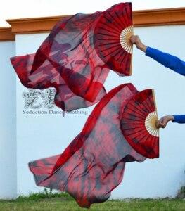 Image 1 - 2016 yüksek satış 100% gerçek ipek Veils 1 çift el yapımı kadın kaliteli İpek oryantal dans Fan dans siyah kırmızı karıştırma 80*90 cm