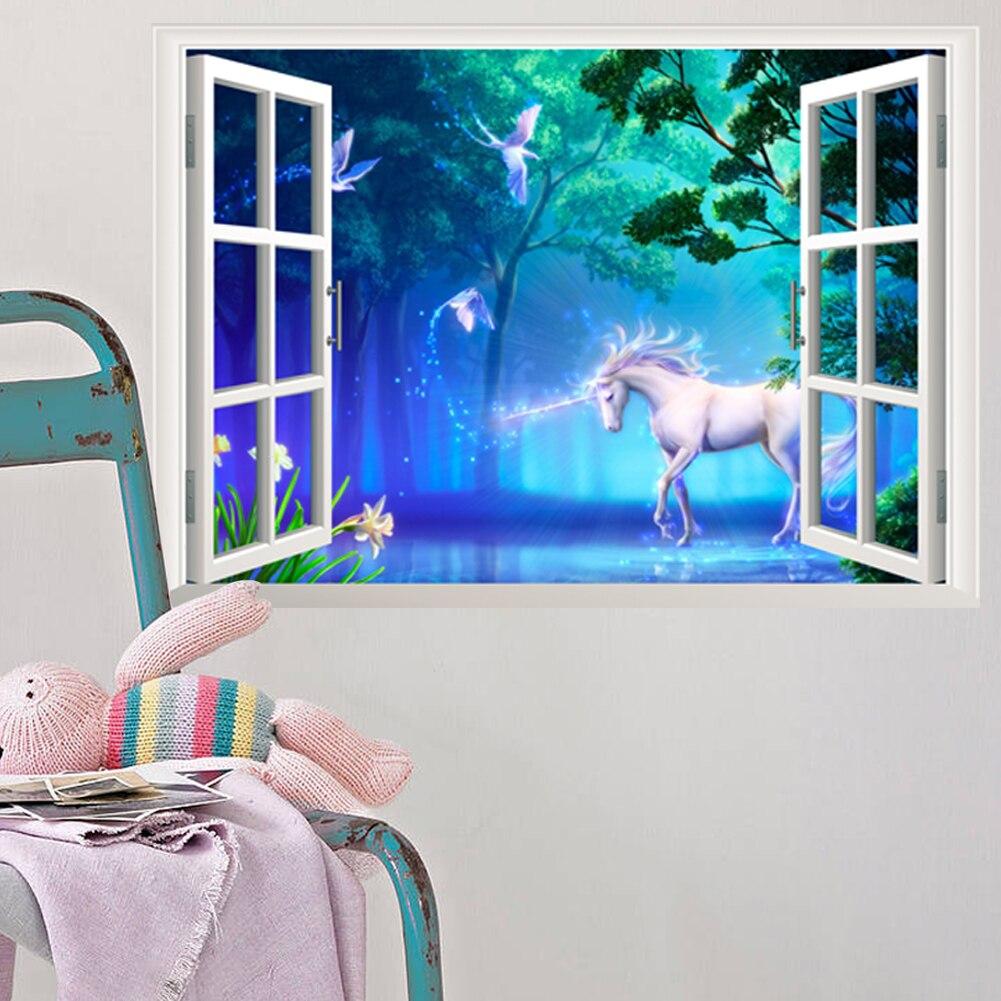 3d fenêtre forêt licorne Stickers muraux pour enfants chambre décor à la maison Art Mural garçons Stickers