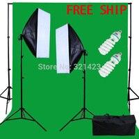 Фотостудия софтбокс комплект 2*2 м задний план поддержка 3*2 м Зеленый Муслин Фон 220 В 5500 к лампа для фото с сумка