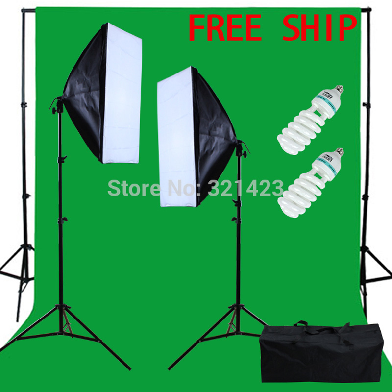 купить Yuguang Photographic Equipment New Studio 150W Continuous Lighting kit with 3x2m Green backdrop chromakey недорого