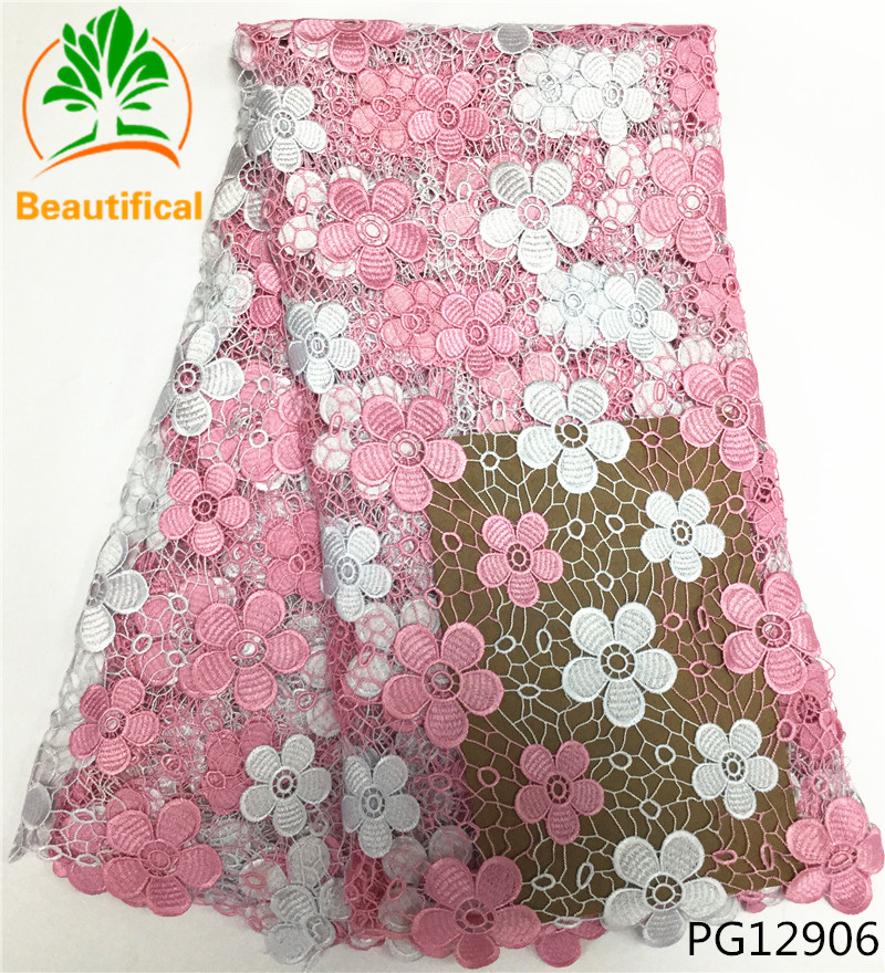 Beautifical african guipure lace fabric african guipure cord lace pink cord laces for nigerian party 5
