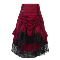Women Long Gothic Punk Skirt Red Black Blue Medieval Party Ball Gown Costume Clothes Vintage Ruffle High Low Steampunk Skirts