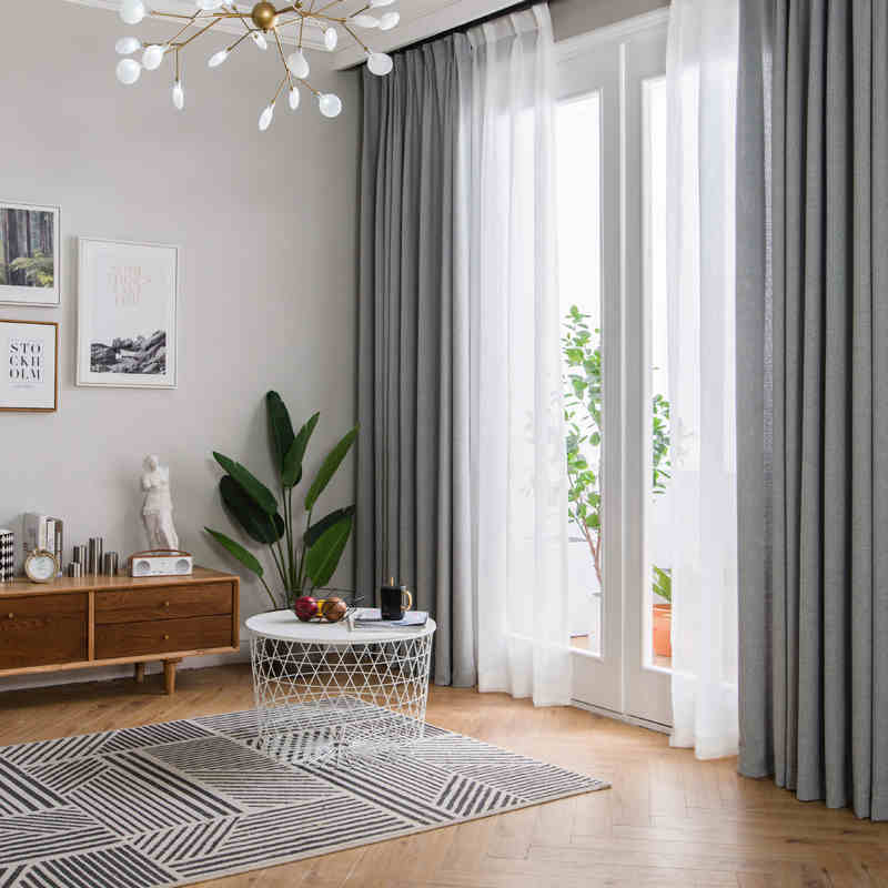 Modern Minimalist Style Imitation Linen Fabric Grey Curtain For Living Room With White Tulle Customize Size Curtains Aliexpress