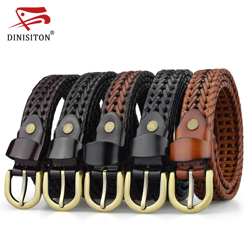 DINISITON Weaving Belt Designer Genuine Leather Belts For Women Woven Thin Female Strap Ladies Braided Belts Woman Fashion