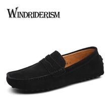 WINDRIDERISM Nuevos Hombres Holgazanes Planos Del Cuero Genuino Hombres de Moda Casual Zapatos Mocasines de Ante de la Calidad de Conducción Zapatos hombre