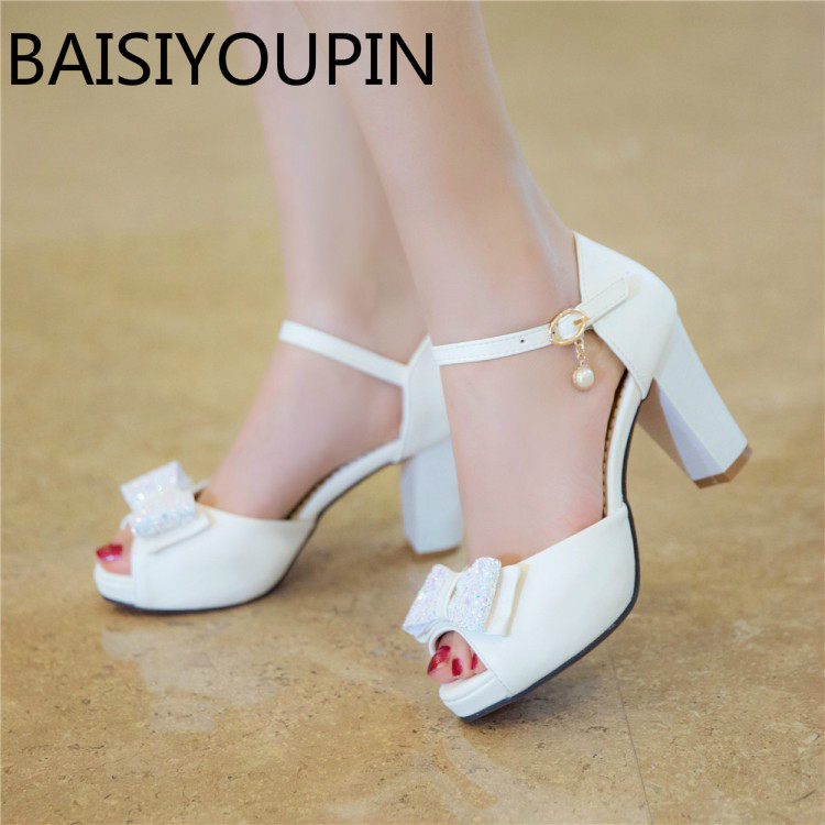 Women Sweet Bow Pendant High Heels Sandals Female Thick Heel Paltform A Word Buckle Fish Mouth Sandals Small Big Size 32 42 43 sexemara extreme high heel sandals fish mouth women sandals 2017 new large size 33 43 summer fashion sexy buckle ladies sandals