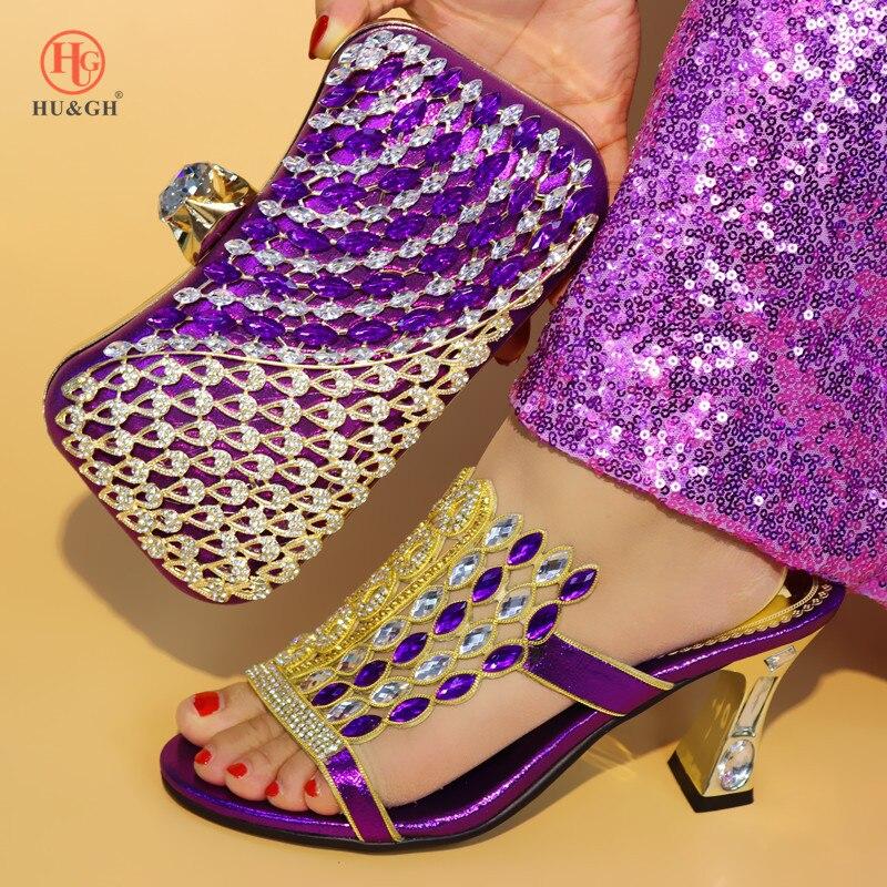 Royal Blue Kleur Schoen en Tas Set Nieuwe 2018 Vrouwen Schoenen en Tas Set Afrikaanse Bruiloft Sandalen Italiaanse Schoenen met bijpassende Tassen Set - 5