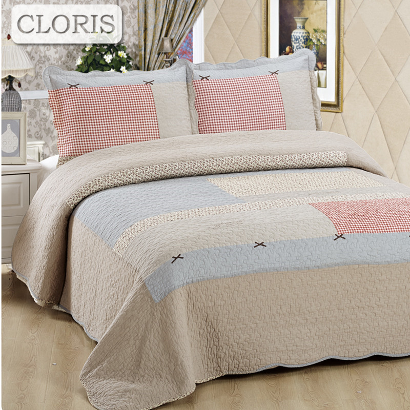 CLORIS Patchwork Bedspread Plaid Cotton Quilted King Size Ruffled Bedspread 2 Pieces Pillowcase 230*250 Size Blanket Sheet Duvet