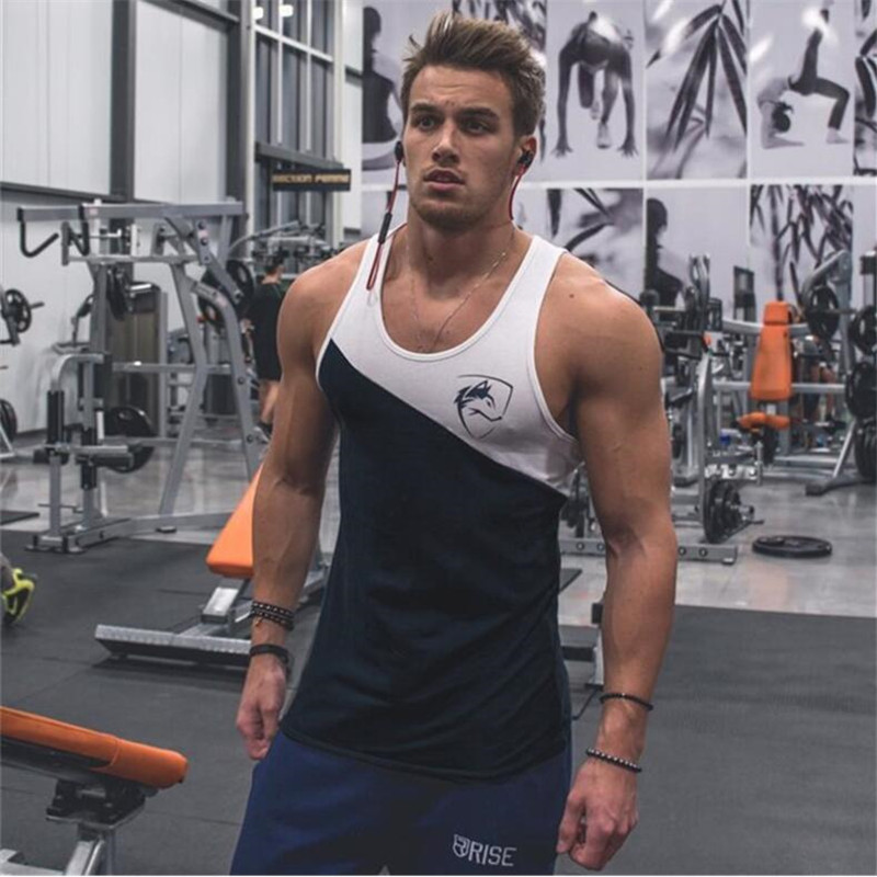 New Fashion Brand fitness Bodybuilding Racerback   Tank     Tops   Men Fitness Sleeveless Vest Cotton Singlets Gasp Muscle Shirt