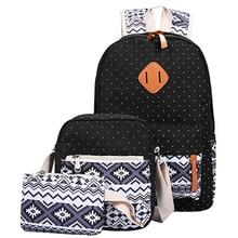 Canvas Notebook Backpack Set Student Bookbags School Back Pack3 Pcs/set Teenagers Sac A Dos Student Bookbag Rucksack Backbag