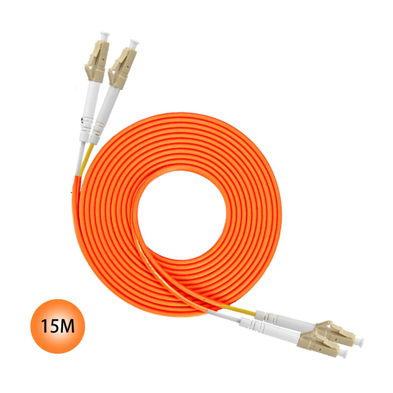 LC to LC 15M 50/125 Multimode Duplex Plenum Fiber Patch Cable Jumper cable 50 Microns UPC Polish Orange Jacket OFNP OM2