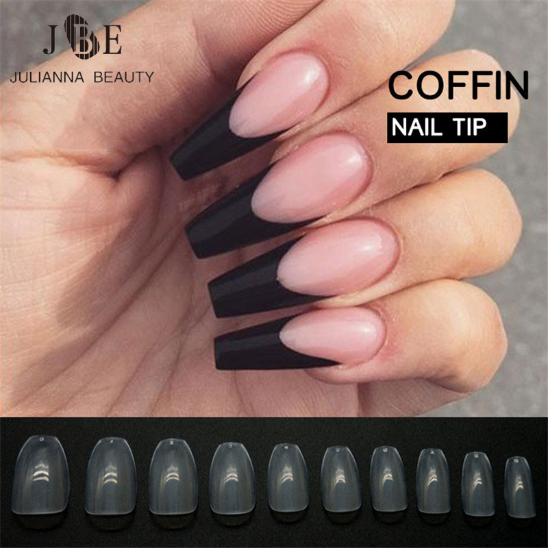 500pcs New Design Coffin Nail Tips Long Clear False Nails ABS Artificial Full Cover Fake DIY Acrylic Art 10 Size In From Beauty