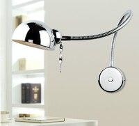 1 pcs Chrome swing arm wall lamps Modern reading led wall sconces light flexible bathroom led mirror lamp E27 bedroom wall light
