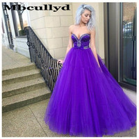 Mbcully Luxury Beaded Crystal Evening Dresses Dubai Abiye Long Sweep Train Purple Backless Robe De Soiree Shiny Formal Prom Gown