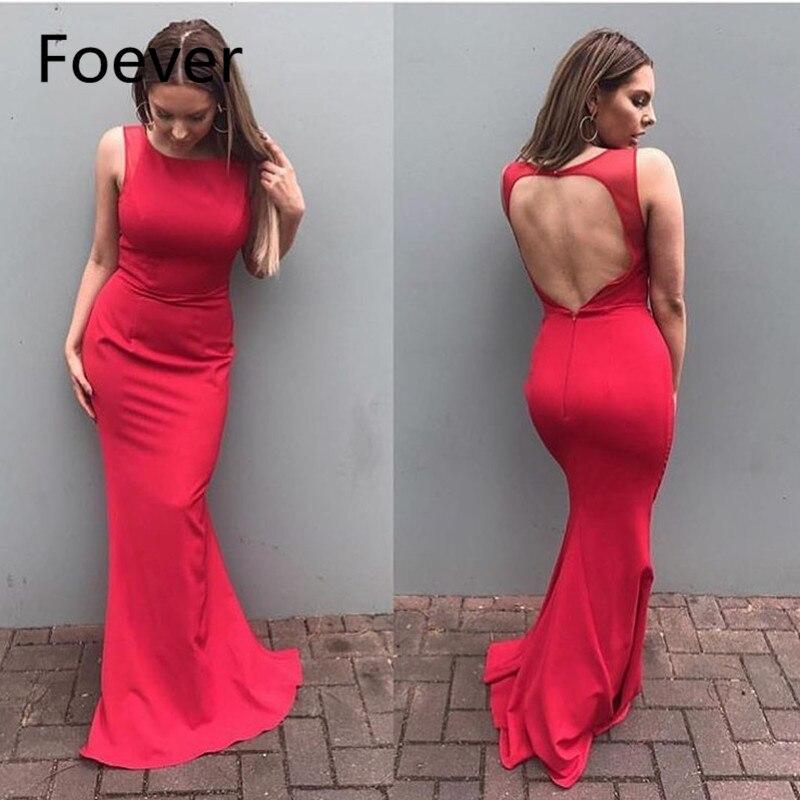 Cheap Red Mermaid Evening Dresses Long 2019 robe de soiree Open Back Formal Women Party Dress Custom abendkleider
