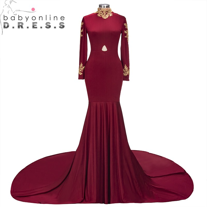 New Style Reflective   Dress   High Neck Burgundy Long Sleeve Mermaid   Prom     Dresses   2019 Charming Appliques Evening Party   Dress