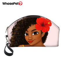 WHOSEPET African Girls Style Printing Pattern PU Cosmetic Cases Fashion Women Make Up Bags Zipper Portable Receive