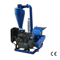 55HP CF500A Electric start Diesel Engine Hammer Mill Wood Crusher With Cyclone