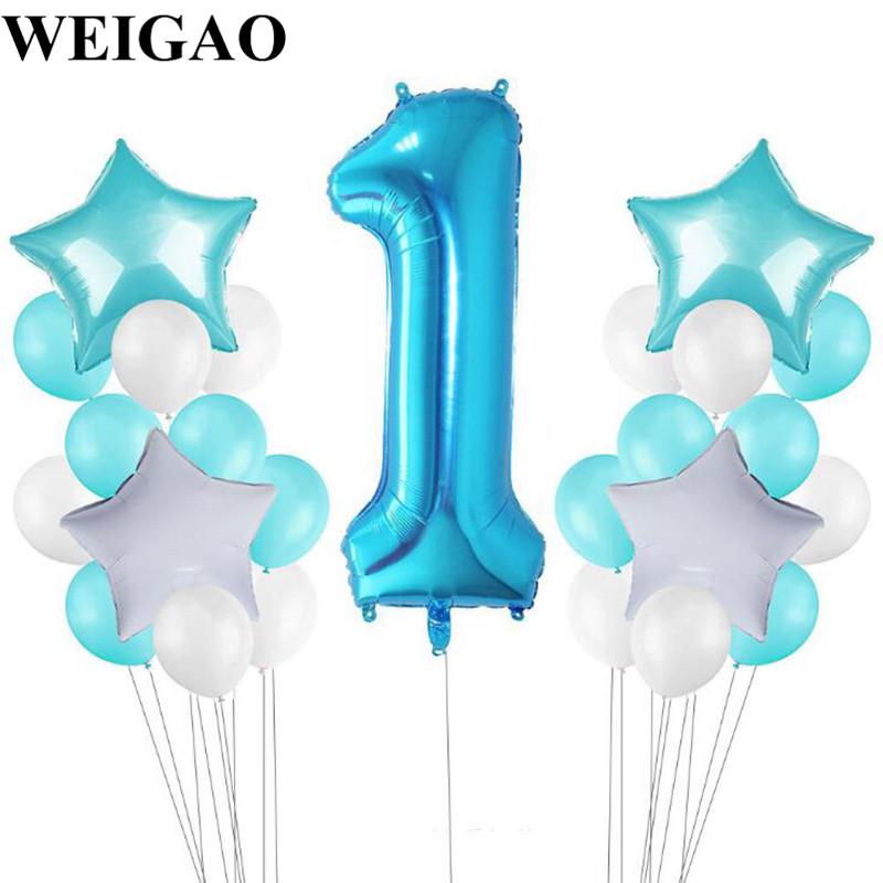 WEIGAO 25Pcs Birthday Party Balloons Set 1st Birthday Latex Balloon Baby Shower Blue/Pink Theme Party Air Ballons Decor Supplies
