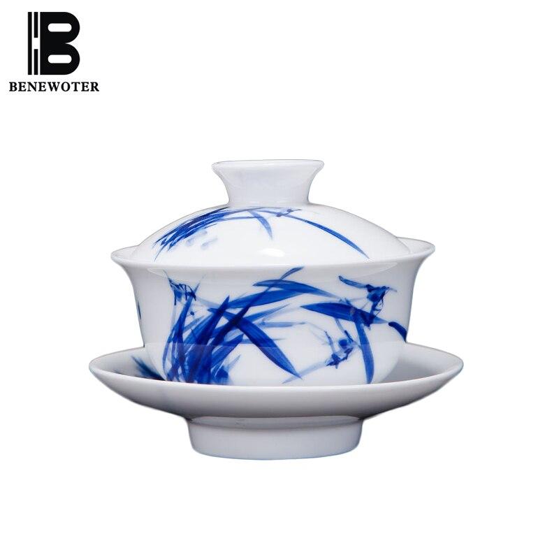 140 ml Jingdezhen fait à la main en céramique Gaiwan bleu et blanc porcelaine Teacup peint à la main sous émail thé soupière théière Puer Teaware
